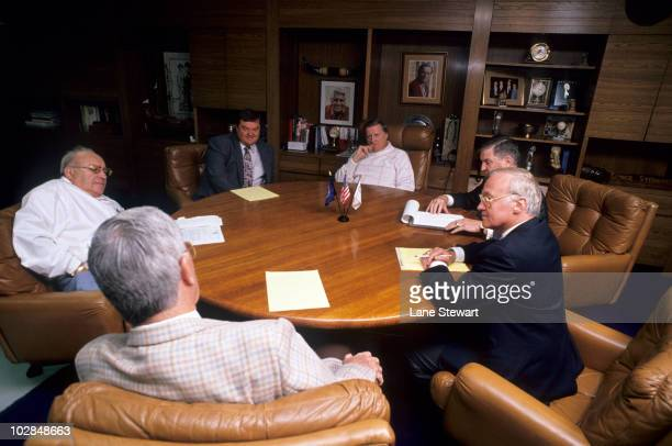 Portrait of New York Yankees owner George Steinbrenner during meeting with Jack Lawn Leonard Kleinman Pete Peterson and others New York NY 4/27/1990...