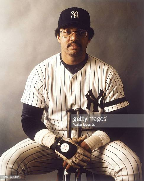 Portrait of New York Yankees Reggie Jackson during photo shoot at Yankee Stadium Bronx NY CREDIT Walter Iooss Jr