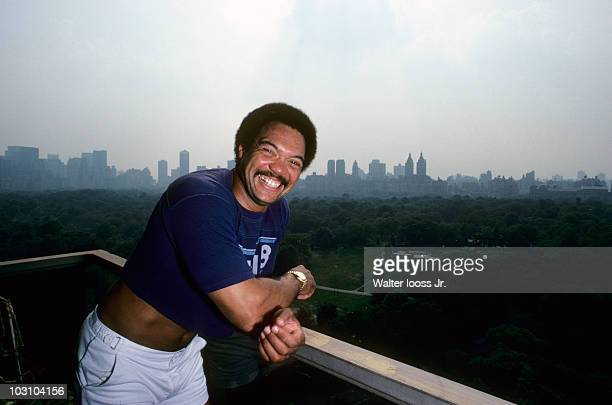 Portrait of New York Yankees Reggie Jackson during photo shoot on balcony outside his home New York NY 6/1/1980 CREDIT Walter Iooss Jr