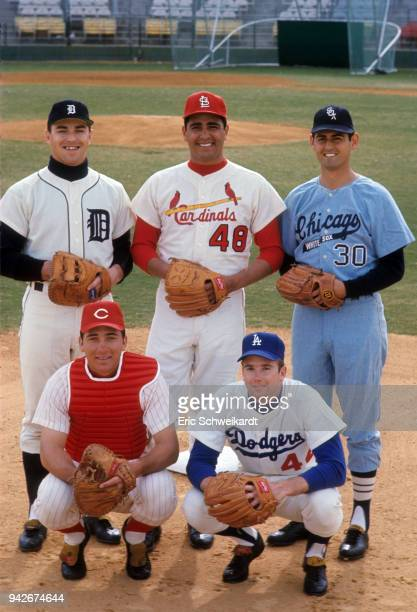 Portrait of rookies Detroit Tigers Don Pepper St Louis Cardinals Mike Torrez Chicago White Sox Francisco Carlos Cincinnati Reds Johnny Bench and Los...