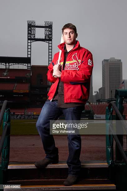 Portrait of St Louis Cardinals third baseman David Freese casual during photo shoot on field at Busch Stadium St Louis MO CREDIT Dilip Vishwanat