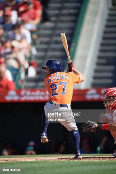 Rear view of Houston Astros Jose Altuve in action at bat vs Los Angeles Angels at Angel Stadium Anaheim CA CREDIT Robert Beck