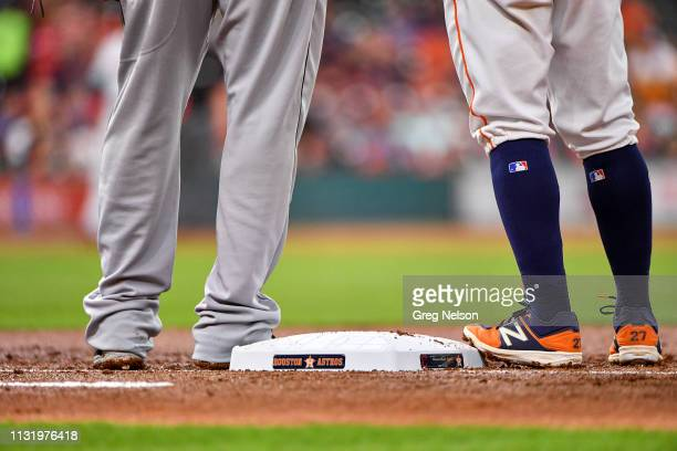 Rear view of Houston Astros Jose Altuve's high stirrups at first base during game vs Cleveland Indians at Minute Maid Park Houston TX CREDIT Greg...