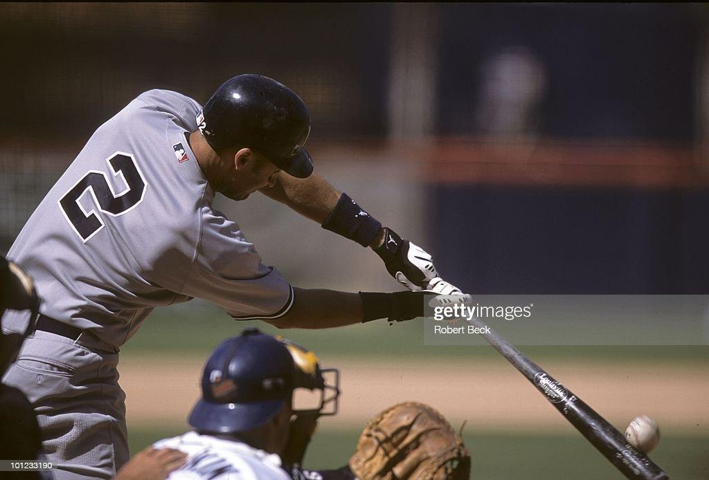 Rear view of New York Yankees Derek Jeter (2) in action, at bat vs San Diego Padres. San Diego, CA 6/23/2002