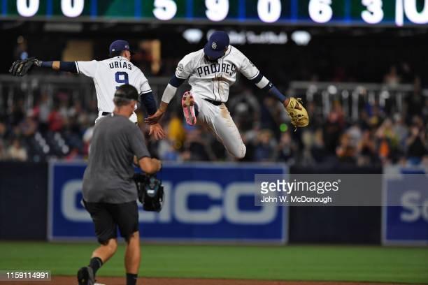 San Diego Padres Fernando Tatis Jr victorious with Luis Urias after winning game vs San Francisco Giants Petco Park San Diego CA CREDIT John W...