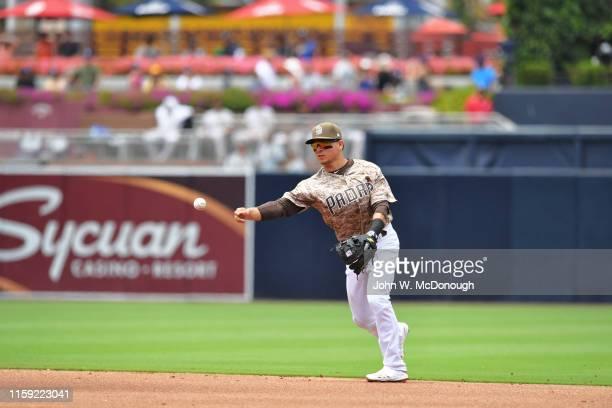 San Diego Padres Luis Urias in action throwing vs San Francisco Giants at Petco Park San Diego CA CREDIT John W McDonough