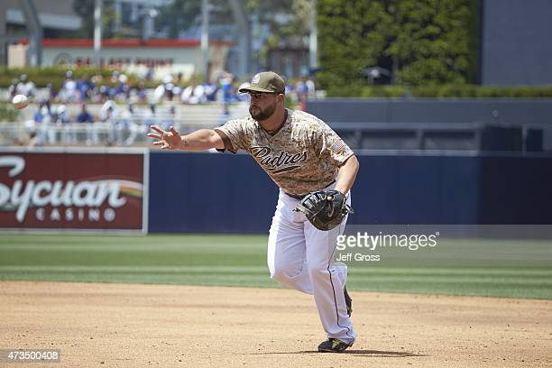 San Diego Padres Yonder Alonso in action making underhand toss while fielding vs Los Angeles Dodgers at Petco Park San Diego CA CREDIT Jeff Gross