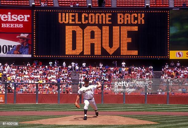Baseball San Francisco Giants Dave Dravecky in action pitching vs Cincinnati Reds during first start after having cancer surgery in pitching arm View...