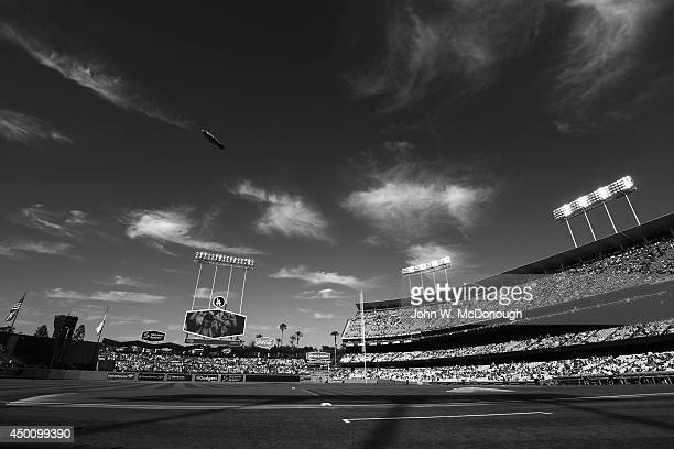 Scenic view of field and stadium with Goodyear blimp overhead during Los Angeles Dodgers game vs Pittsburgh Pirates at Dodger Stadium Los Angeles CA...