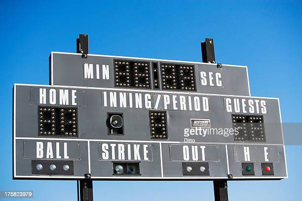 Baseball scoreboard against blue sky