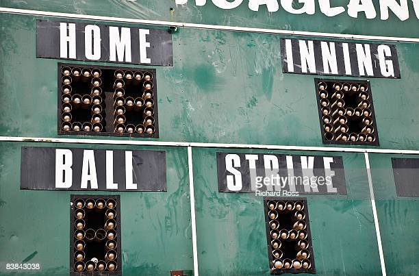 baseball scoreboard, close-up