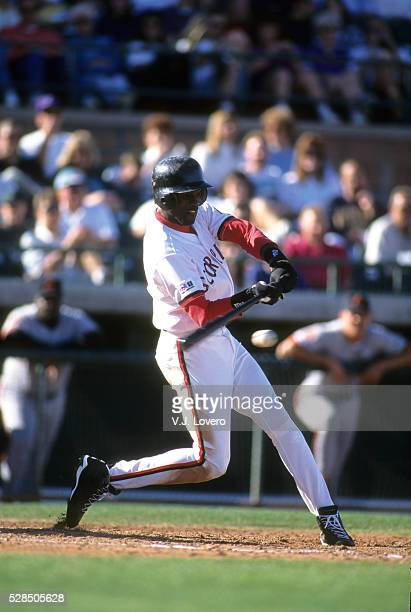 Scottsdale Scorpions Michael Jordan in action, at bat during game at Scottsdale Stadium. Scottsdale, AZ CREDIT: V.J. Lovero
