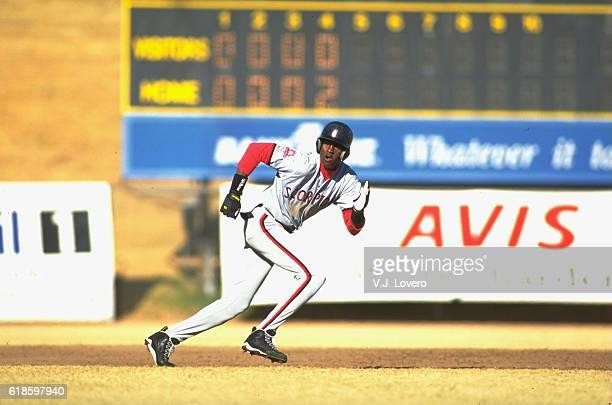 Scottsdale Scorpions Michael Jordan in action, running bases during game at Scottsdale Stadium. Scottsdale, AZ CREDIT: V.J. Lovero
