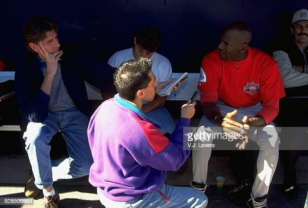 Scottsdale Scorpions Michael Jordan in dugout during media interview before game at Scottsdale Stadium. Scottsdale, AZ -- CREDIT: V.J. Lovero