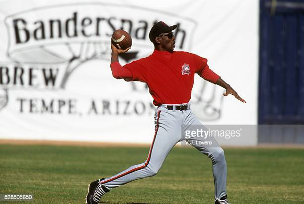 Scottsdale Scorpions Michael Jordan warming up, throwing football on field before game at Scottsdale Stadium. Scottsdale, AZ CREDIT: V.J. Lovero