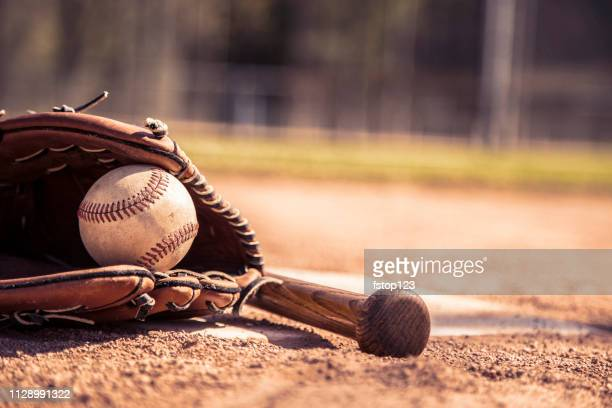 baseball season is here.  bat, glove and ball on home plate. - baseball bat stock pictures, royalty-free photos & images