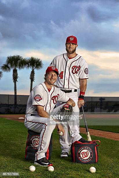 Season Preview Portrait of Washington Nationals Max Scherzer and outfielder Bryce Harper during spring training photo shoot at Carl Barger Baseball...