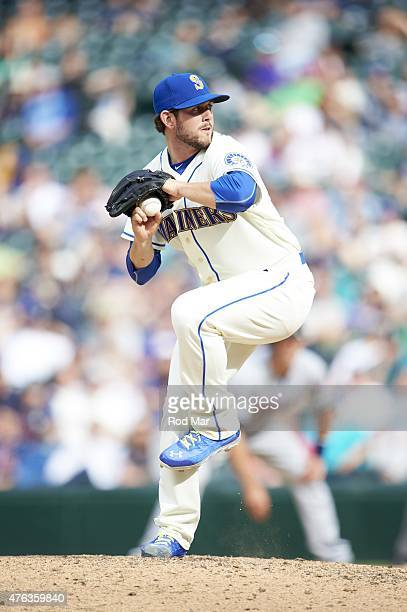Seattle Mariners Dominic Leone in action pitching vs Cleveland Indians at Safeco Field Seattle WA CREDIT Rod Mar