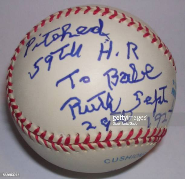 Baseball signed by Paul Hopkins a pitcher for the Washington Senators who was the last living baseball player to surrender a home run to Babe Ruth in...