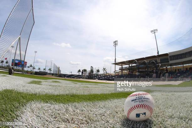 A baseball sits on the field before a spring training baseball game between the the Atlanta Braves and the Washington Nationals at Fitteam Ballpark...
