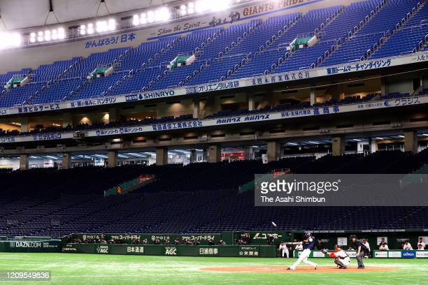 Baseball spring training match between the Yomiuri Giants and Yakult Swallows is held behind closed doors amid increasing fear of COVID-19 new...