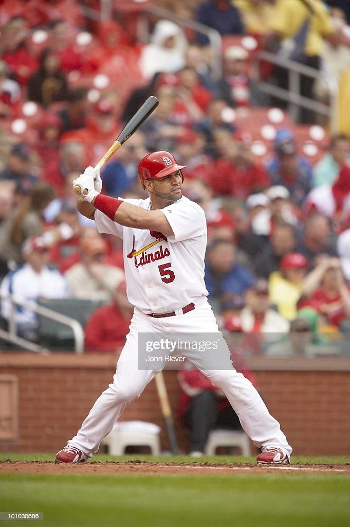St. Louis Cardinals Albert Pujols (5) in action, at bat vs Florida Marlins. St. Louis, MO 5/20/2010