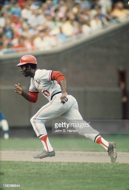 St Louis Cardinals Lou Brock in action running bases vs Chicago Cubs at Wrigley Field Chicago IL CREDIT John D Hanlon