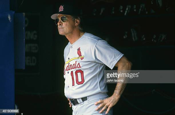 St Louis Cardinals manager Tony La Russa in dugout during game vs Pittsburgh Pirates at Three Rivers Stadium Pittsburgh PA CREDIT John Iacono
