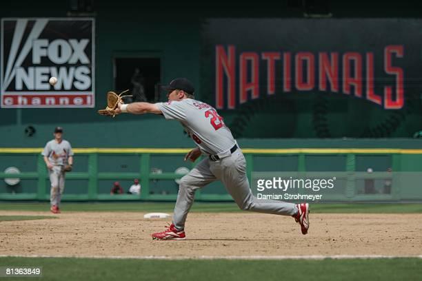 Baseball St Louis Cardinals Scott Seabol in action making catch vs Washington Nationals Washington DC 8/28/2005