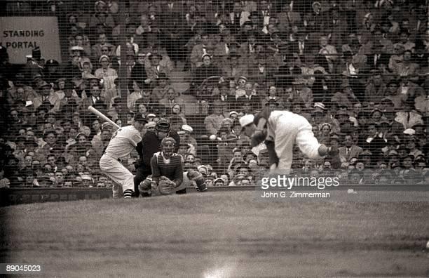 St Louis Cardinals Stan Musial in action at bat vs Cincinnati Reds during opening day game Cincinnati OH 4/16/1957 CREDIT John G Zimmerman