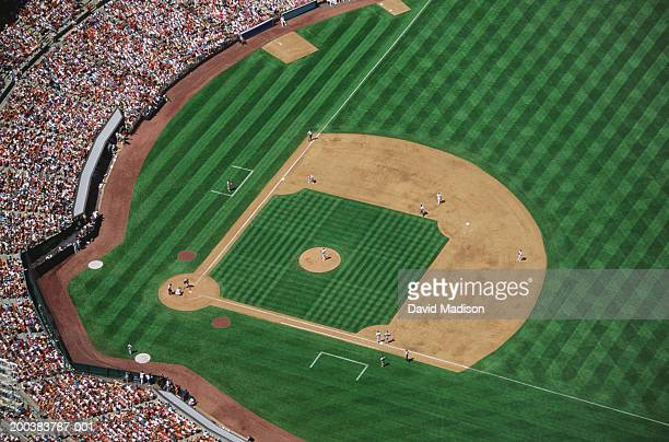 baseball stadium during game, aerial view - baseball diamond stock pictures, royalty-free photos & images