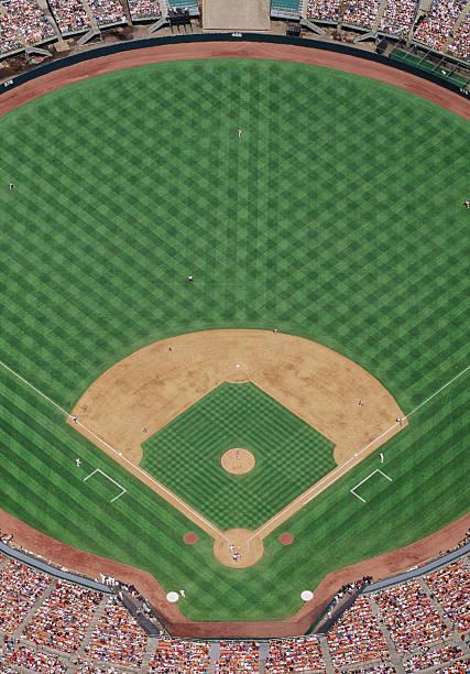 Baseball Stadium During Game, Aerial View Wall Art