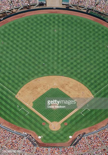 Baseball stadium during game, aerial view