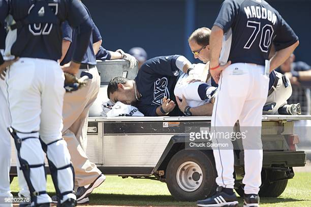 Tampa Bay Rays Dioner Navarro after sustaining injury during spring training game vs Minnesota Twins at Charlotte Sports Park. Port Charlotte, FL...