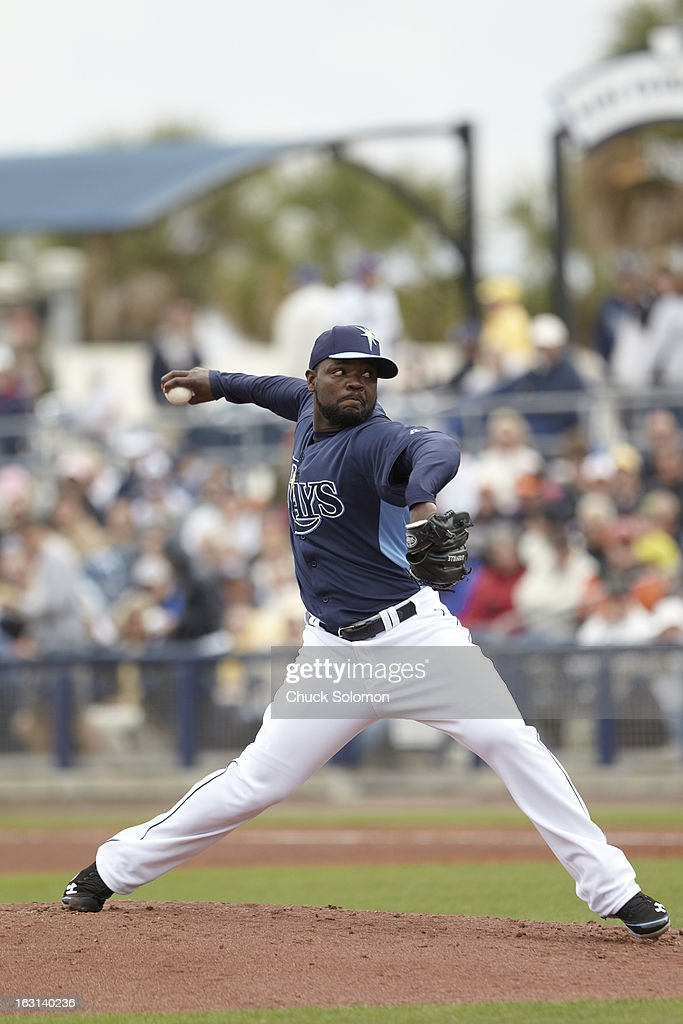 Tampa Bay Rays Fernando Rodney (56) in action, pitching vs Baltimore Orioles during spring training game at Charlotte Sports Park. Chuck Solomon F102 )