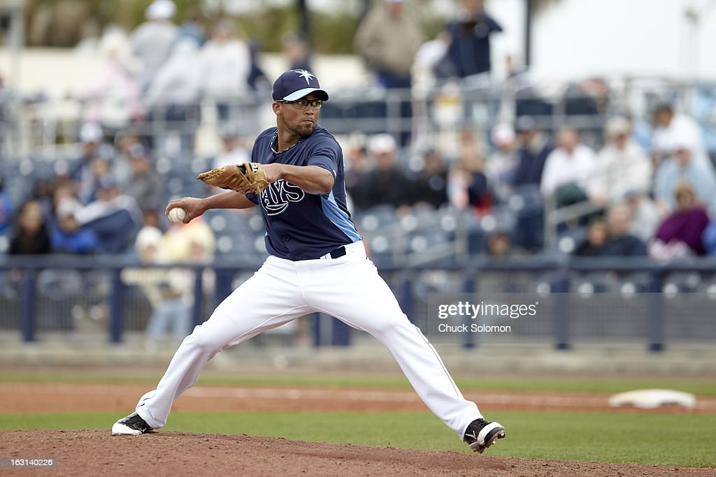 Tampa Bay Rays Juan Sandoval (85) in action, pitching vs Baltimore Orioles during spring training game at Charlotte Sports Park. Chuck Solomon F155 )