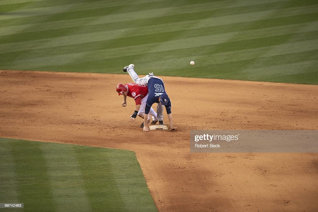 Tampa Bay Rays Reid Brignac (15) in action vs Los Angeles Angels of Anaheim ryan Budde (28). Anaheim, CA 5/12/2010