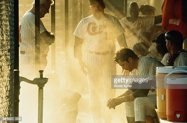 baseball, team in 'dugout' - baseball player stock pictures, royalty-free photos & images