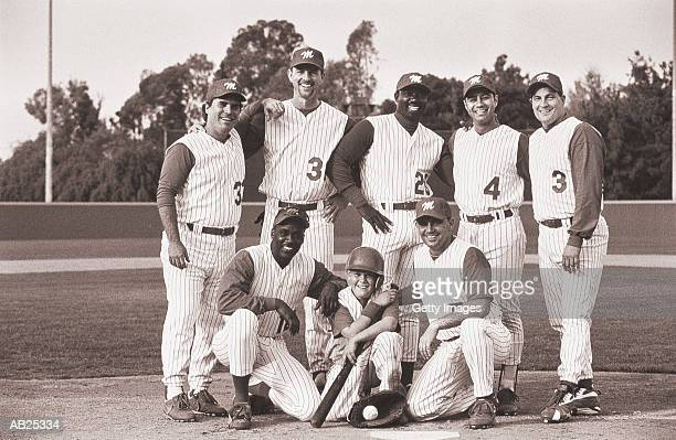 baseball team, portrait (b&w) - baseball team stock pictures, royalty-free photos & images