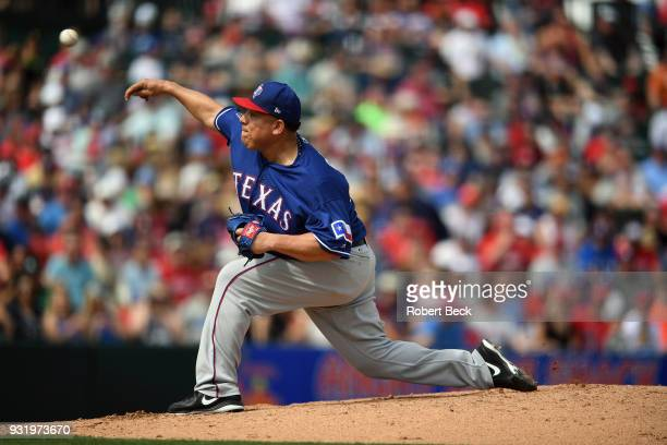 Texas Rangers Bartolo Colon in action pitching vs Los Angeles Angels of Anaheim during spring training game at Tempe Diablo Stadium Tempe AZ CREDIT...