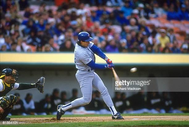 Baseball Texas Rangers Jose Canseco in action at bat vs Oakland Athletics Oakland CA 5/11/1993