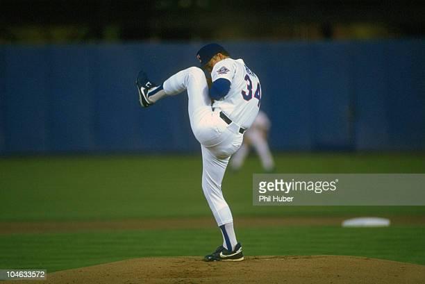 Texas Rangers Nolan Ryan in action, pitching vs Boston Red Sox. Arlington, TX 4/9/1993 CREDIT: Phil Huber