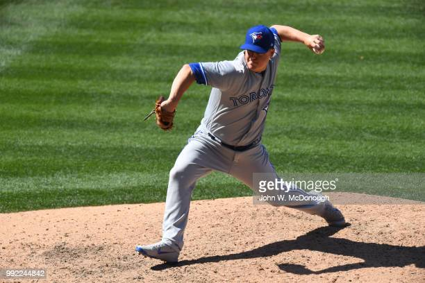 Toronto Blue Jays Aaron Loup in action pitching vs Los Angeles Angels at Angel Stadium Anaheim CA CREDIT John W McDonough