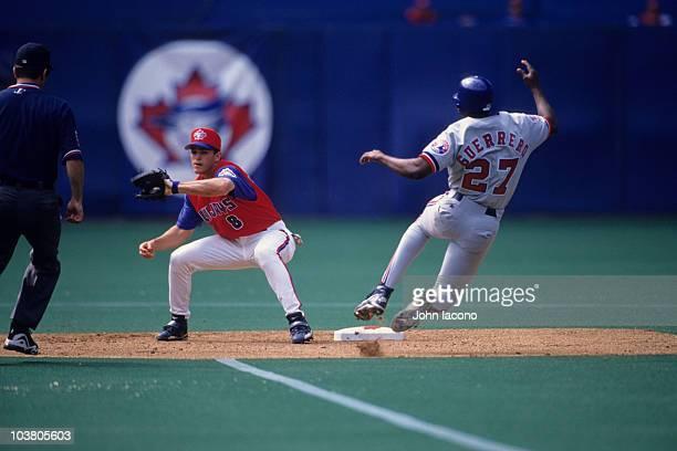Toronto Blue Jays Alex Gonzalez in action fielding vs Montreal Expos Vladimir Guerrero First interleague series in Canada Toronto Canada...