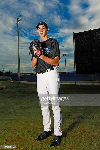 Toronto Blue Jays pitching prospect Aaron Sanchez during spring training photo shoot at Englebert Recreational Complex Dunedin FL CREDIT Tom DiPace