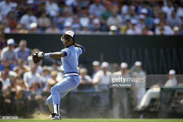 Toronto Blue Jays Tony Fernandez in action making throw vs Baltimore Orioles Baltimore MD 6/14/1987 CREDIT Jerry Wachter