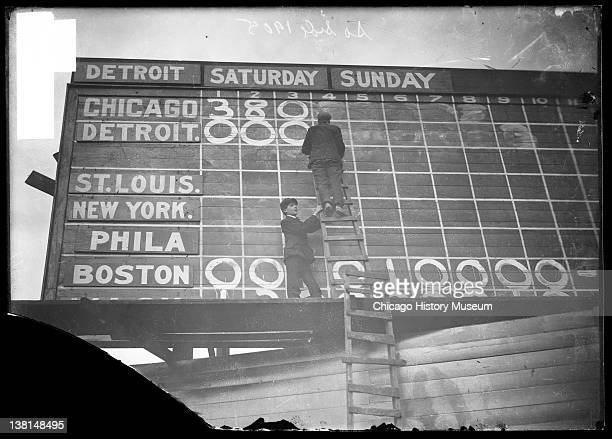 Baseball two boys changing the score on the scoreboard at South Side Park Chicago Illinois 1905 From the Chicago Daily News collection