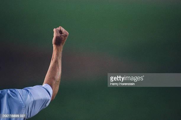 baseball umpire signalling an out, close-up of arm - ponche strike de béisbol fotografías e imágenes de stock