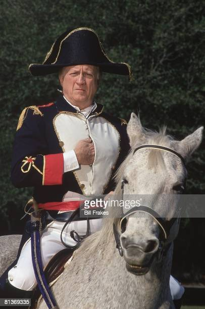 Baseball Unusual closeup portrait of New York Yankees owner George Steinbrenner on horse and wearing Napoleon costume at home Return to MLB after...