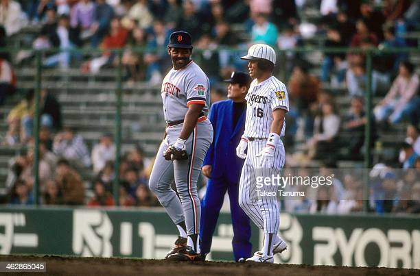 USA Japan All Star Tour Detroit Tigers Cecil Fielder with Hanshin Tigers player before game at Hankyu Nishinomiya Stadium Nishinomiya Japan 11/7/1990...